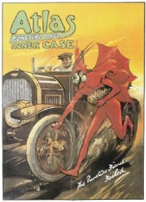 Vintage tyre advertisment poster - Atlas puncture porof